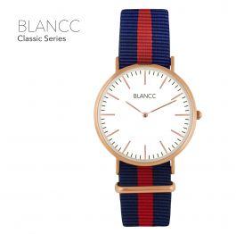 BLANCC Heren horloge Classic 40mm Blauw/Rood Nylon Horloge - Rose Goud
