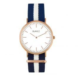 BLANCC herenhorloge Classic 40mm Blauw/Wit Nylon