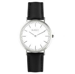 Blancc Classic Leer Zwart Horloge - Zilver