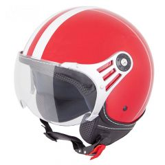 Vinz Fiori rood witte strepen jethelm fashionhelm scooterhelm motorhelm vooraanzicht
