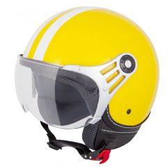 Vinz Fiori geel witte strepen jethelm fashionhelm scooterhelm motorhelm vooraanzicht