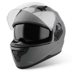 Vinz Kennet titanium integraalhelm scooterhelm motorhelm Zonnevizier vooraanzicht open vizier