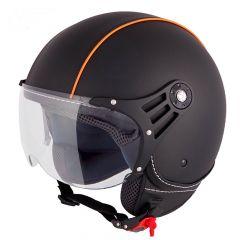 Vinz Laghi zwart oranje leren jethelm fashionhelm scooterhelm motorhelm vooraanzicht