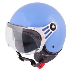 Vinz Stelvio blauw jethelm fashionhelm scooterhelm motorhelm vooraanzicht