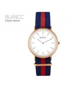 Blancc Classic Blauw/Rood Nylon Horloge - Rose Goud