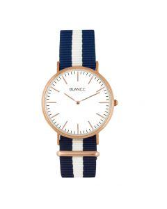Herenhorloge Blancc Classic 40mm Blauw/Wit Nylon