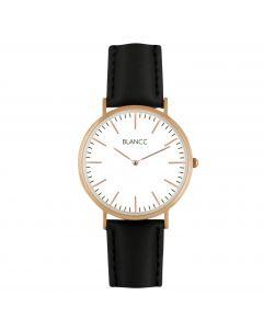 Blancc Classic Leer Horloge - Rose Goud