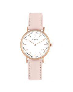 Blancc Classic Leer Roze Horloge - Roze Goud