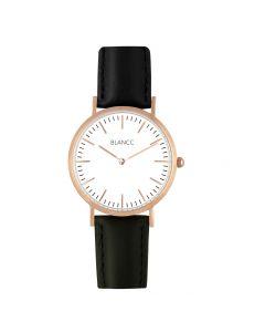 Blancc Classic Leer Zwart Horloge - Roze Goud
