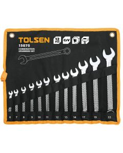 Tolsen 12 delige Ring- Steeksleutelset 6-12mm